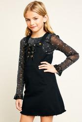Girls Black Overall Denim Dress