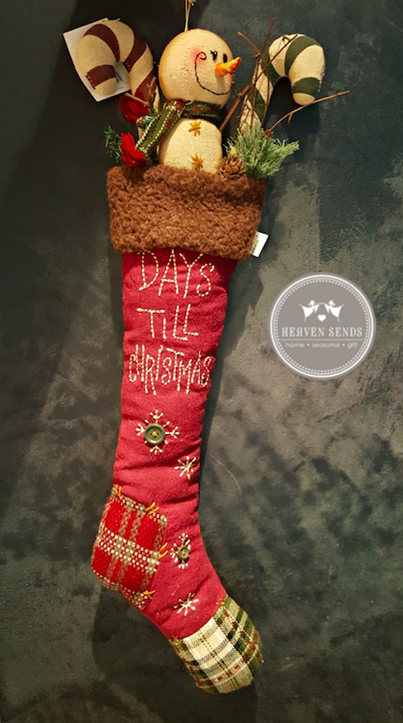 Snowman Count Down Christmas Stocking