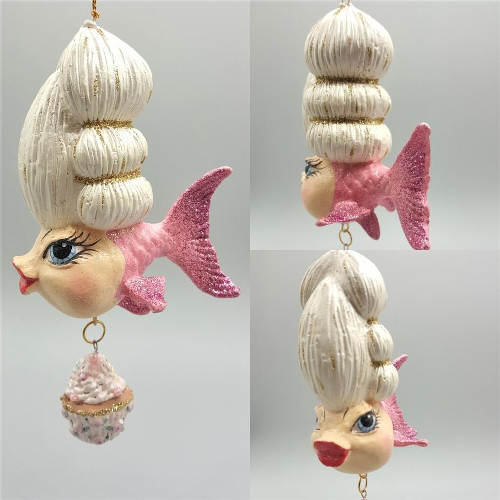 Madame Wig Cupcake Kissing Fish Ornament