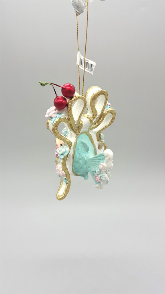 Kissing Fish Cherry Bow Tree Ornament
