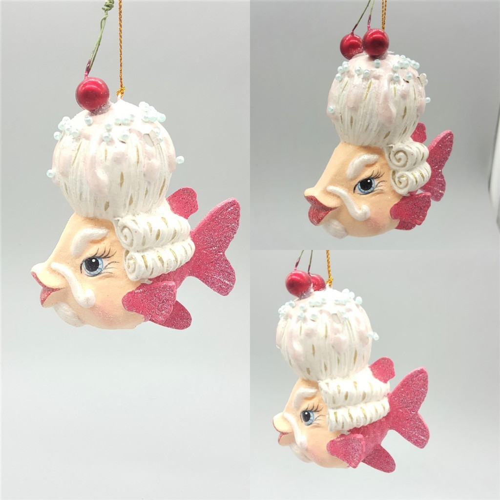 Mr Cherry Kissing Fish Tree Ornament had been handmade and hand painted with sparkling glitter detail, ready to display.