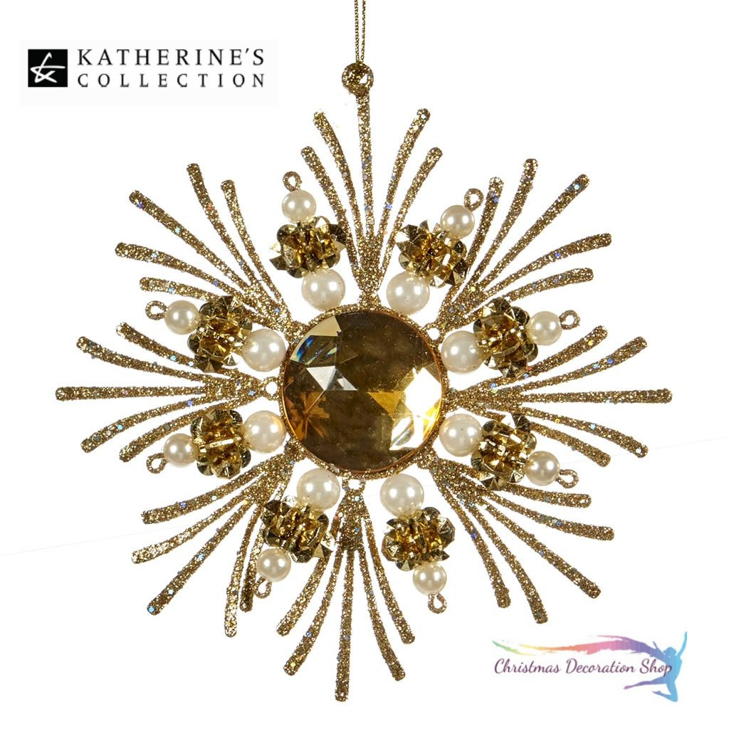 Katherine's Collection Christmas Gold Shimmer Star With Pearl Beads.