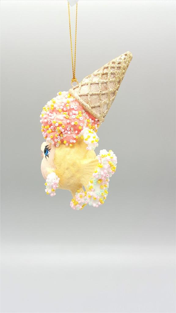 Kissing Fish Ice Cream Cone Tree Ornament