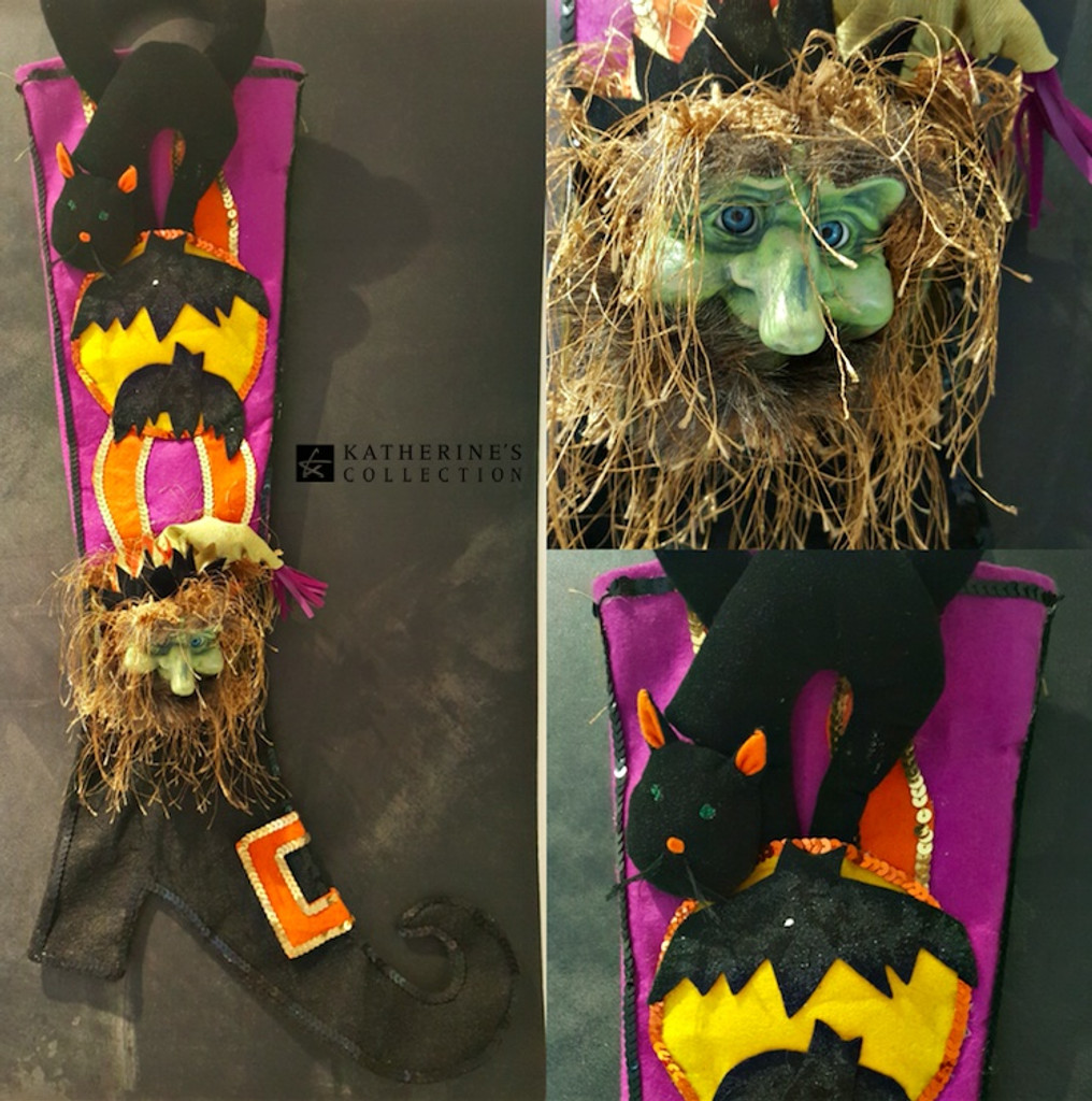 Katherine's Collection Goblin doll Witch Stocking Display