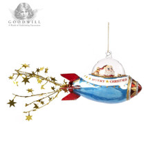 Handmade Glass Santa Rocket Christmas Tree Ornament
