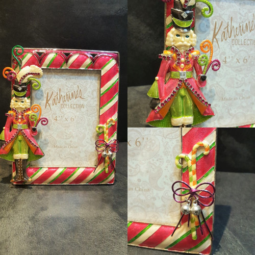 Katherine's Collection Nutcracker photo frame candy bells and ribbon and Nutcracker with crystals