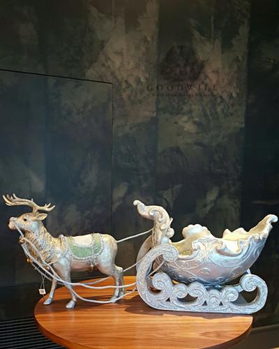 Large Christmas Table Display Reindeer Sledge