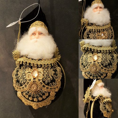 Lavish Santa Display Bauble In Black velvet with Gold Detail & Crystal Tree Decoration.