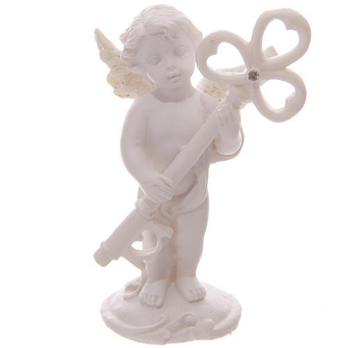 Cherub Holding Heart Shape Crystal Key Ornament