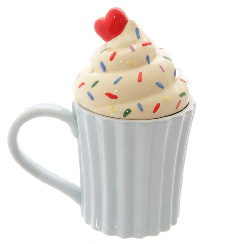 Cupcake Ceramic Mug with Lid