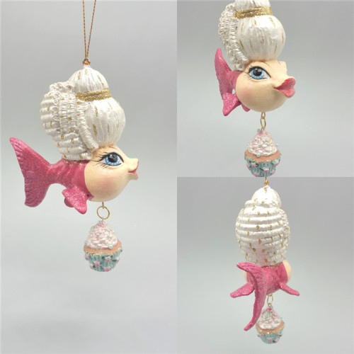 Madame Pink Cupcake Kissing Fish Ornament has been handmade and hand painted.