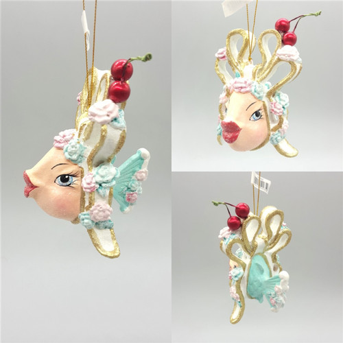 Cherry Bow Kissing Fish Christmas Tree Ornament