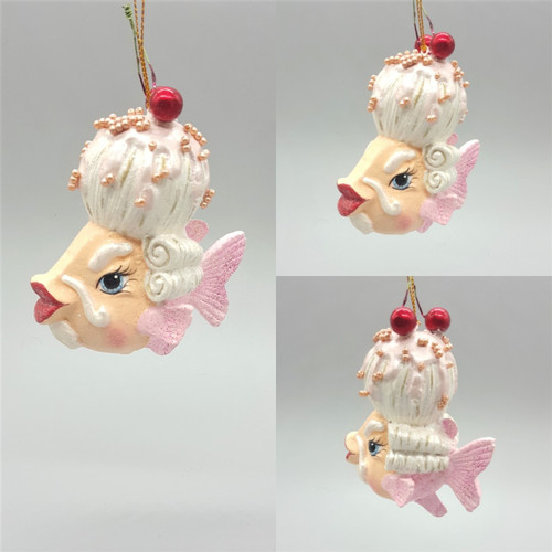 Mr Cherry Wig Kissing Fish Christmas Decoration