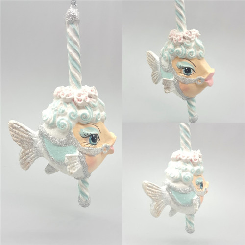 Carousel Kissing Fish Tree Ornament, hand made and hand painted ready to display for the Christmas season.