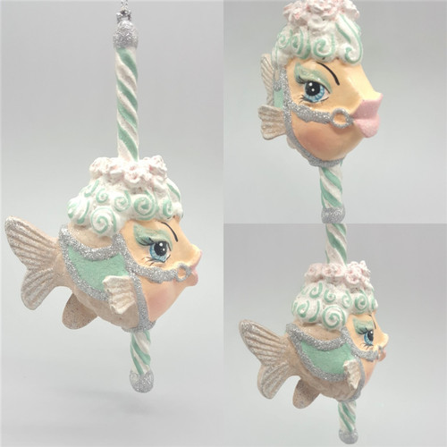 Carousel Peppermint Kissing Fish Tree Ornament