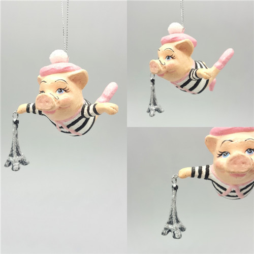 Paris Boy Pig Christmas Tree Ornament Has been handmade and hand painted with sparkling detail, ready to display on the Christmas Tree