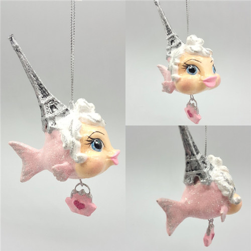Eiffel Tower Kissing Fish Christmas Tree Ornament