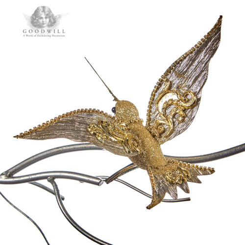 Gold Hummingbird on clip display decoration