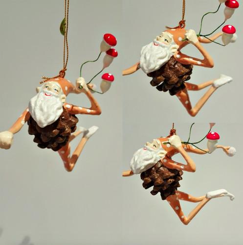 Mushroom Christmas Elf Tree Decorations Display