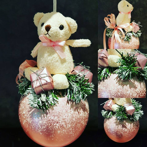 Christmas Pink Bear Tree Bauble Decoration