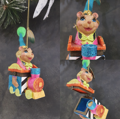 Katherine's Collection Train Bear Trinket Box Tree Ornament