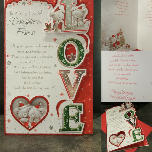 Beautiful Large Daughter & Fiancé Christmas Card Full Colour Insert