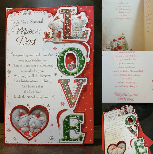 Mum & Dad Large Christmas Card With Full Colour Insert And Images