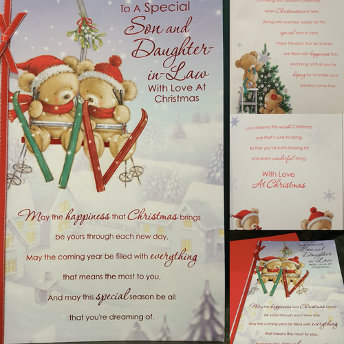 Luxury Large Son & Daughter-In-Law Christmas Card Full Colour Insert