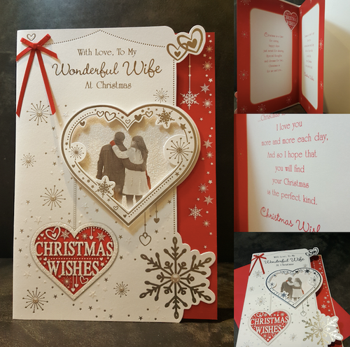 Wonderful Wife Christmas Card Full Colour Insert