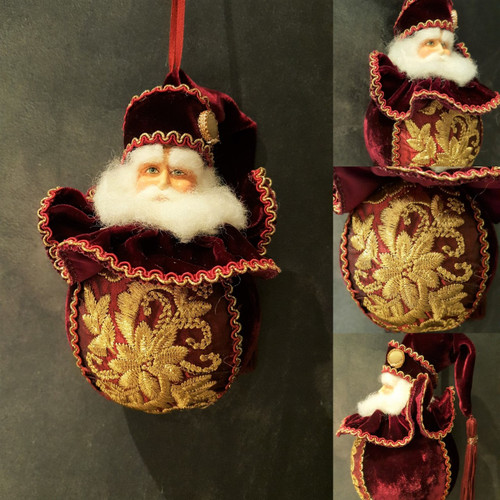 Beautiful Large Christmas Santa Tree Bauble Lavish Materials & Trims