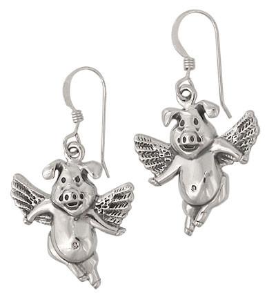 Sterling Silver Flying pig earrings