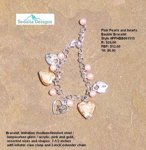 Pink pearls and hearts bauble bracelet