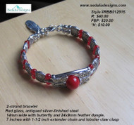 Western style bracelet with red beads