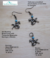 'Sod Busting' earrings & bauble