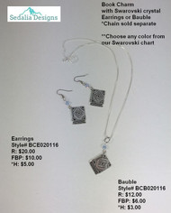 Book charm with Swarovski crystal - bauble & earrings