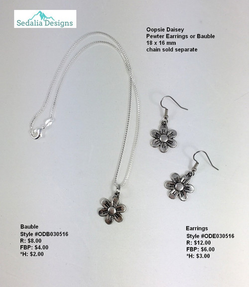 'Oopsie Daisey' bauble & earrings