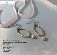 Boho Hoop Pearl earrings