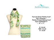 Scarf, paisley teal & green