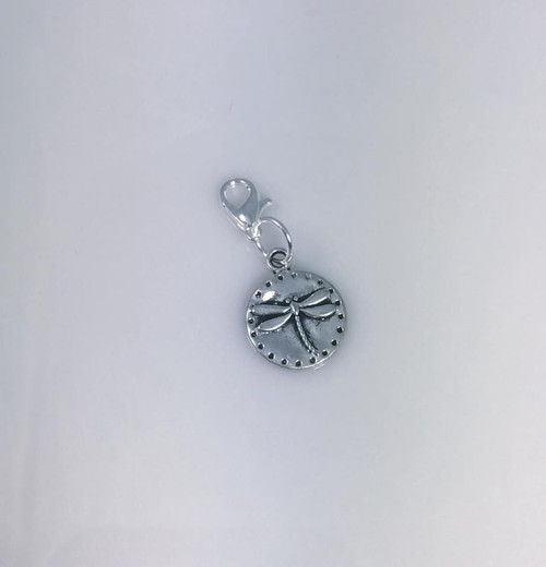 Cost 2.00  Resell for 6.00 or more Pewter dragonfly disc Lobster clasp bauble charm Style # PDB080817 Made in USA