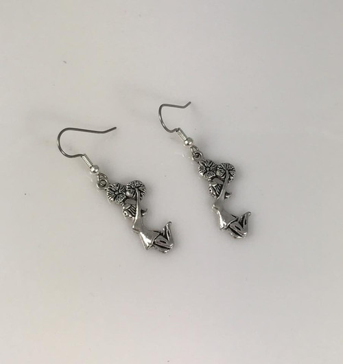 Pewter Cheerleader earrings surgical steel ear wires Made in Colorado USA