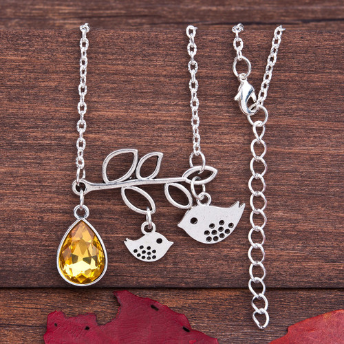 """resell for 12.00  Necklace Antique Silver Orange/yellow  Mother Bird Tree Faceted 50.5cm(19 7/8"""") long Citrine color"""