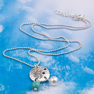 """resell for 9.00 or more Copper Necklace Antique Silver Blue Sand Dollar Round Imitation Turquoise 49cm(19 2/8"""") long"""