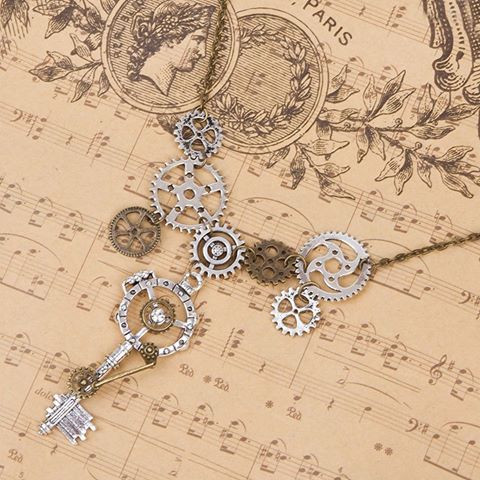 """resell for 18.00 or more Steampunk Statement Necklace Link Cable Chain Antique Bronze Gear Key Pendants Clear Rhinestone 51.5cm(20 2/8"""") long"""