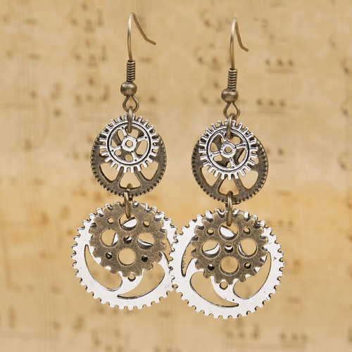 """resell for 12.00 or more  Steampunk Earrings Antique Bronze Gear 60mm(2 3/8"""") x 23mm( 7/8"""")"""