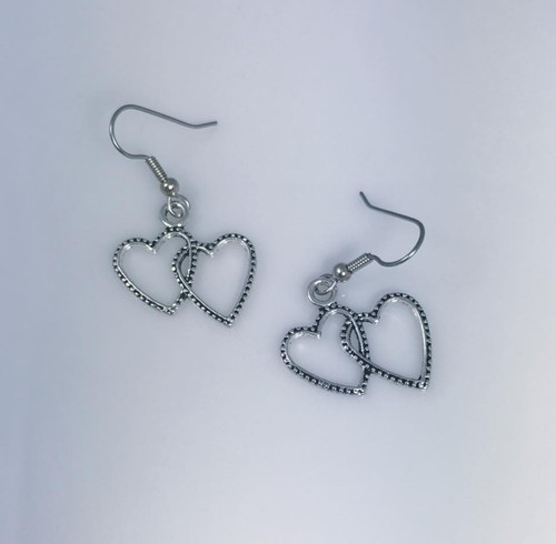 Resell for 5.00 or more Pewter double heart Surgical steel ear wires