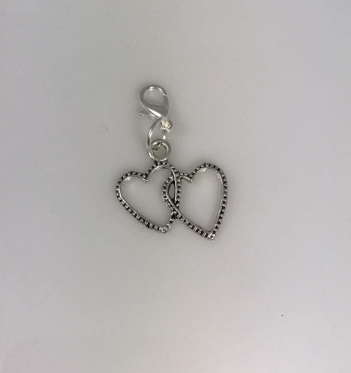 Resell for 6.00 or more  Pewter double heart Lobster clasp bauble charm