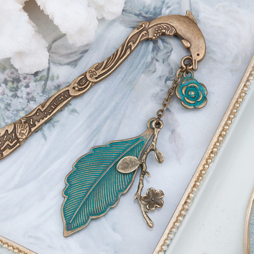 "resell for 12.00 or more  Ocean Jewelry Patina Bookmark Dolphin Animal Antique Bronze Leaf Flower 12.4cm(4 7/8"") x 2.2cm( 7/8"")"