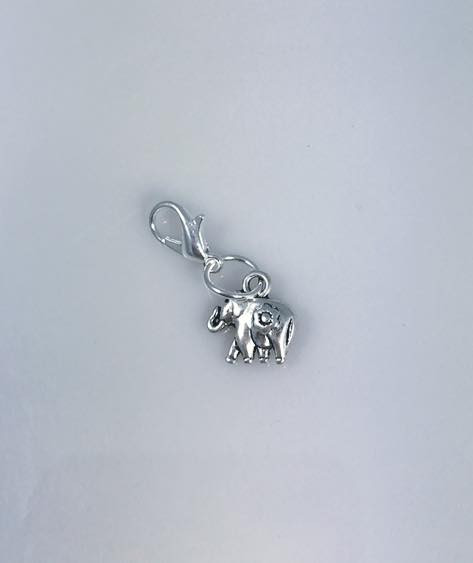 Resell for 6.00 or more  Pewter elephant with flower Lobster clasp bauble