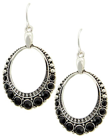 """resell for 18.00 or more  Antique Silver Tone / Black Rhinestone / Lead&nickel Compliant / Fish Hook / Circle / Dangle / Earring Set  •   WIDTH X LENGTH : 7/8"""" X 1 3/4""""  •   SILVER/Black  Style #BCHE091817g"""