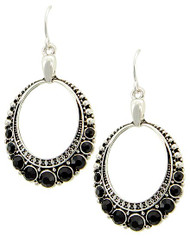 "resell for 18.00 or more  Antique Silver Tone / Black Rhinestone / Lead&nickel Compliant / Fish Hook / Circle / Dangle / Earring Set  •   WIDTH X LENGTH : 7/8"" X 1 3/4""  •   SILVER/Black  Style #BCHE091817g"